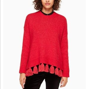 Kate Spade Airy Alpaca Red Tassel Sweater Large